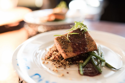Citrus Rubbed Salmon with Blackberry & Brown Butter Emulsion