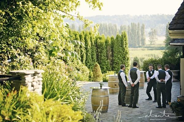 groomsmen on the terrace - no tent